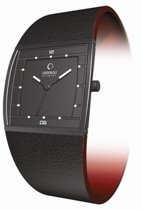 Obaku Harmony Mens Titan Glass Watch - Leather Band/Black Face - V103GBBRB-S-032