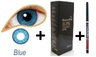 Coloured Contact Lenses with Free Solution & Case - Blue (1 Month)