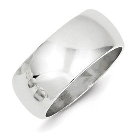 Genuine IceCarats Designer Jewelry Gift Sterling Silver 9Mm Half-Round Band Size 6.00