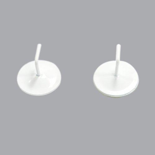 Lot de 2 supports adhésifs métal Blanc laqué