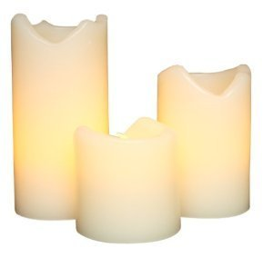 Toolmall 3 Pack Of Ivory Flameless Pillar Candles With Remote And Timer For Patry And Tea Time