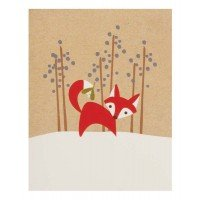 The Gift Wrap Company, 20-Count Small Holiday Cards, Fox Tail Kisses front-505805