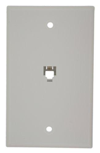Leviton 40949-W Standard Telephone Wall Jack, 6P4C, Screw Terminals, White