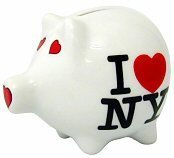I Love NY Piggy Bank, Ceramic New York City Souvenir, Kids NYC Souvenirs