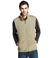Funnel Neck Supersoft Zip Through Ribbed Fleece Gilet