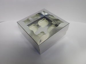 Occasions Quality Gift Boxes Pack Of 100 Silver Cupcake,Muffin,Fairy Cake Boxes - Holds 4 Cakes
