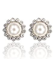 Faux Pearl Diamant Bezel Floral Stud Earrings
