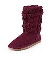 Leather Cable Knit Boots