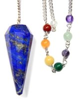 Lapis Faceted Chakra Pendulum with Satin Bag and Instruction Leaflet for Divination / Dowsing Tool