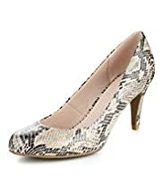 Faux Snakeskin Design Court Shoes