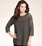 Linen Blend Slash Neck Open Knit Boxy Jumper