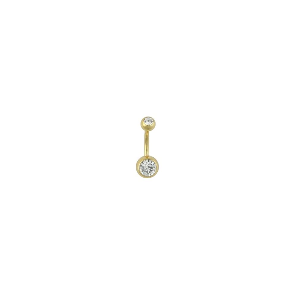 GOLD Plated Belly Ring Double Jeweled Navel Rings 14k