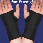 PAIR of Thermoskin Carpal Tunnel Braces with Dorsal Stay, Black , Left & Right Medium