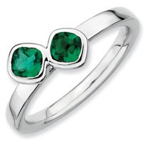 0.63ct Silver Stackable Db Cushion Cut Emerald Band. Sizes 5-10 Available