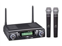 Pyle-Pro PDWM3300 Wireless Professional UHF Dual Channel Microphone System With 2 Microphones and Adjustable frequency
