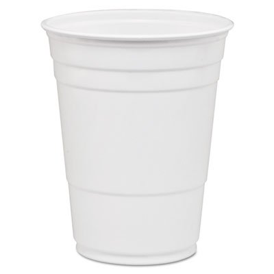 Solo Cup Company - Party Plastic Cold Drink Cups, 16-18 Oz, White, 50/Bag, 1000/Carton