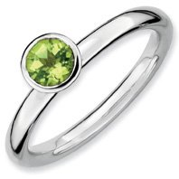 0.57ct Stackable High 5mm Round Peridot Ring Band. Sizes 5-10 Available