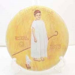 Norman Rockwell Christmas 1975 Vintage Plate - Angel With A Black Eye