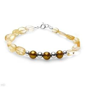 Wonderful Brand New Bracelet With 2.80ctw Precious Stones - Genuine Citrines and 6.0 - 7.0mm Freshwater Pearls Made in 925 Sterling silver
