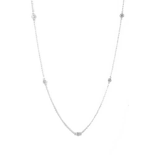 Aimee'S Sterling Silver C.Z. Round Diamond By The Yard Rhodium Plated 36