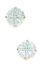14k Yellow Gold 6mm 4 Segment Round CZ Basket Set Earrings - JewelryWeb