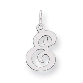 Sterling Silver Stamped Initial E Charm - JewelryWeb