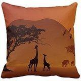 Mutter und Baby Giraffen in afrikanischen Reißverschluss Dekorative Kissen Fall Cover für Sofa 40,6x 40,6cm Zwei Seiten