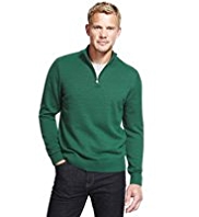 XS Blue Harbour Pure Cotton Half Zip Jumper