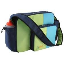 O Yikes Blue & Keylime Messenger Diaper Bag