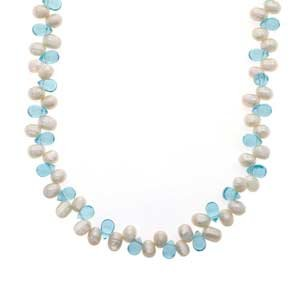 Pearl, Blue Topaz Necklace (40