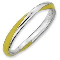 Sunshine Silver Twisted Yellow Enamel Stackable Ring. Sizes 5-10 Available