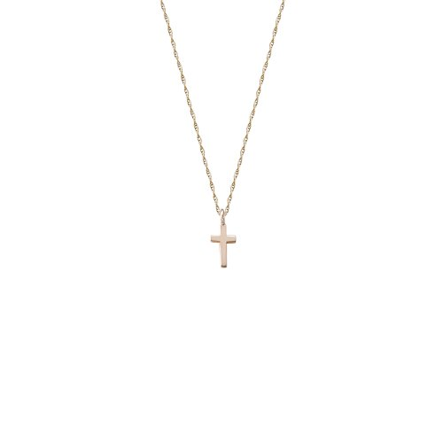 14k Yellow Gold Children's Small Polished Cross Necklace, 13