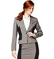 Notch Lapel Colour Block Peplum Jacket