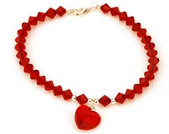 All that Glitters Swarovski Crystal Ruby Heart Dog Necklace (Large)