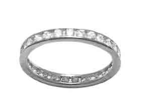 Size 8 Eternity Channel Set Cubic Zirconia Band 14k White Gold Ring