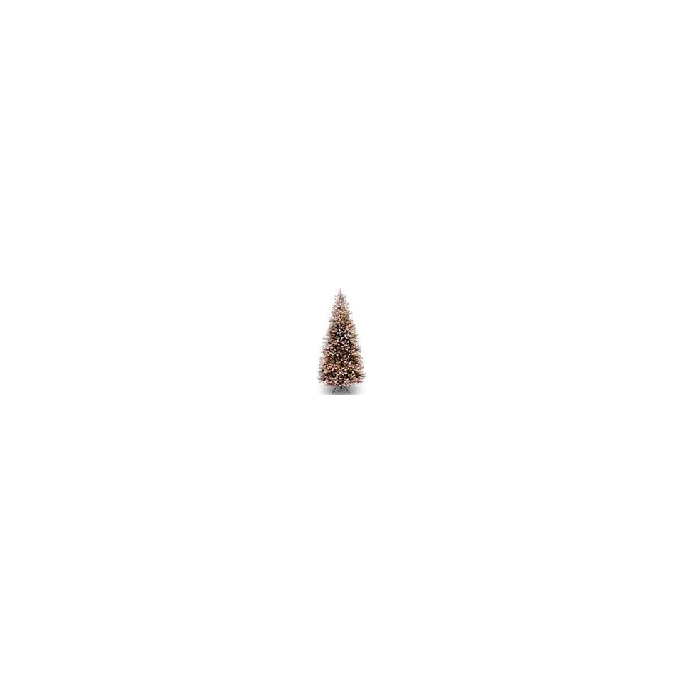 7 1/2 Dunhill Fir Slim Hinged Christmas Tree   Snow, Red