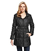 M&S Collection Shower Resistant Faux Snakeskin Belted Coat with Stormwear™