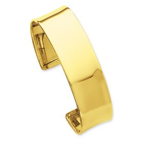 14k 19mm Polished Bangle Bracelet - JewelryWeb