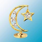 24K Gold Plated Moon & Star Free Standing - Clear - Swarovski Crystal