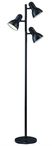 Park Madison Lighting PMF-9543-31 65-Inch Tall Incandescent Tree Floor Lamp with Fully Adjustable Shades and Oversized Turn Knob Switch, Black Finish