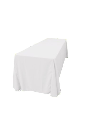 La Linen™ 90X156-Inch Rectangular Polyester Poplin Tablecloth, White. Made In Usa.