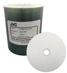 100 JVC Taiyo Yuden 48X CDR (CD-R) 80min 700MB White Inkjet Hub (J-CDR-JVC-IJB-SK)