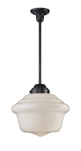 B004M8DHME Landmark 69050-1 Schoolhouse 1-Light Pendant, Oiled Bronze, 15-Inch H by 17-Inch W