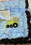 "Embroidered ""Choo Choo Blue"" Reversible Swirl Baby Blanket - 1"
