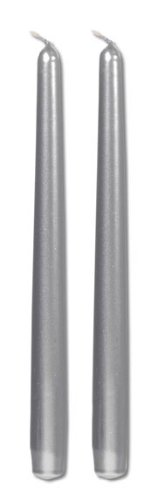 10 Inch Metallic Taper Candle Silver 2 pcs Pk