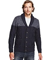 North Coast Twisted Cable Knit Cardigan with Wool