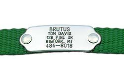Rivet-On Pet ID Tag - Custom engraved dog ID tag that rivets directly onto collar. Stainless Steel or Polished Brass.