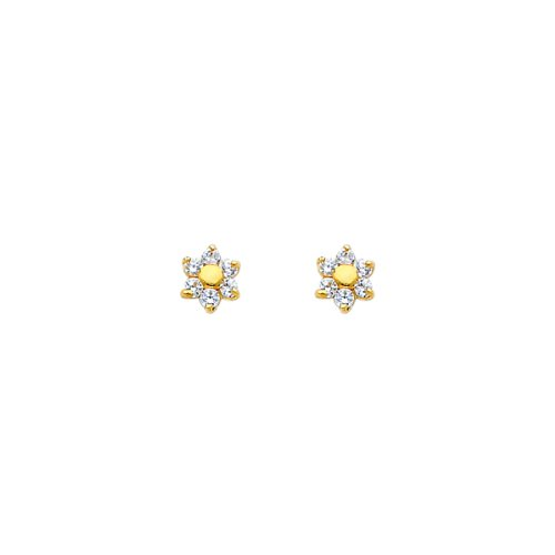14K Yellow Gold Flower CZ Stud Earrings with ScrewBack for Baby & Children