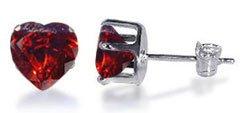 TDEZ2180-GG Nickel Free Sterling Silver 4mm Heart Garnet Cubic Zirconia Post Back Stud Earrings
