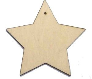 10 X Wooden Star Shapes, Plain Wood Craft Tags With Hole(7cm) By Brilliantbuys